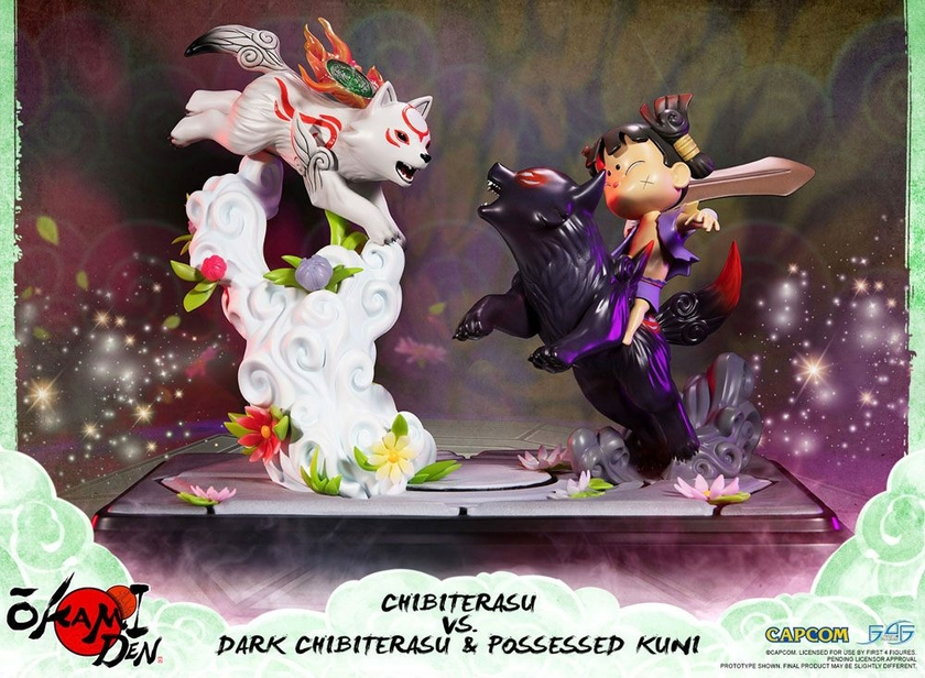 Diorama Okamiden Chibiterasu vs. Dark Chibiterasu & Possessed Kuni 33cm 1001 Figurines (1)