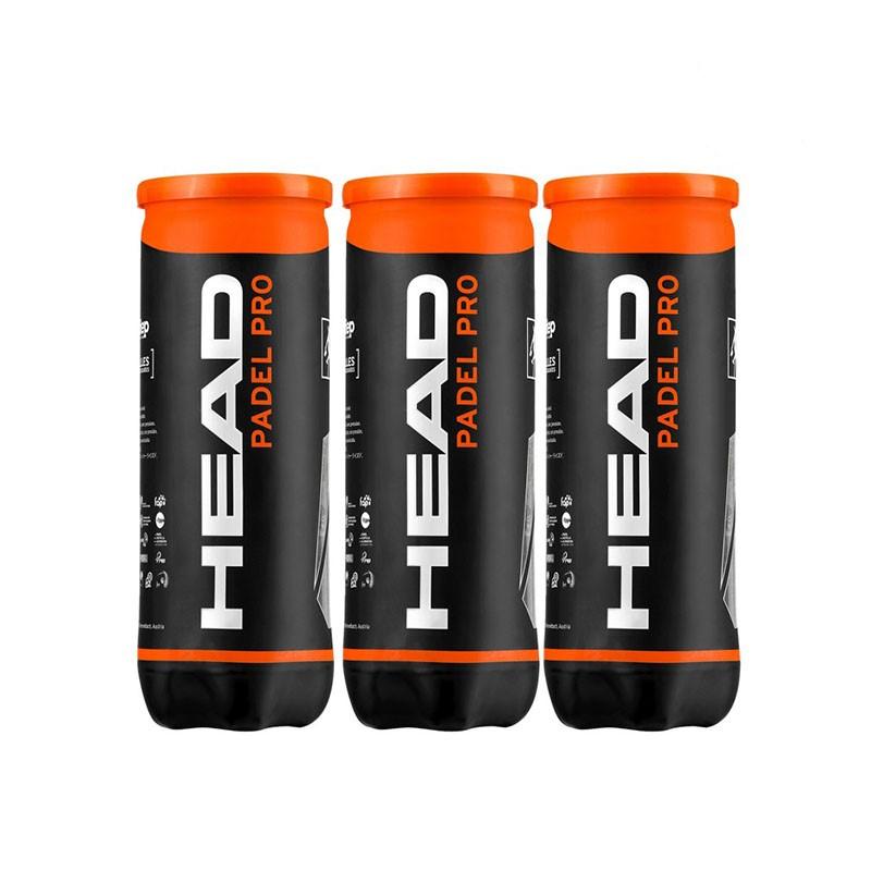 Balles de padel HEAD PADEL PRO - pack de 3 boîtes de balles