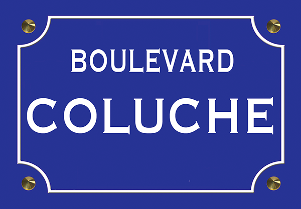 Sticker nom de rue, COLUCHE