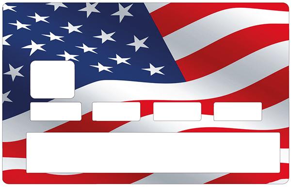 Sticker pour carte bancaire, drapeau Americain au vent