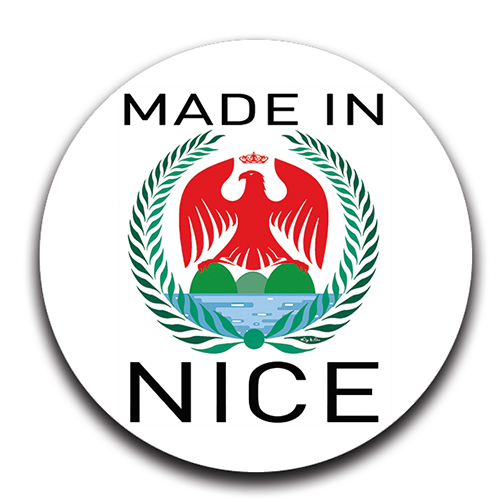 Sticker rond, 100% MADE IN NICE, 12 stickers