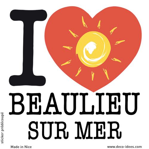 Sticker I LOVE le soleil de BEAULIEU SUR MER