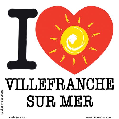Sticker I LOVE le soleil de VILLEFRANCHE SUR MER