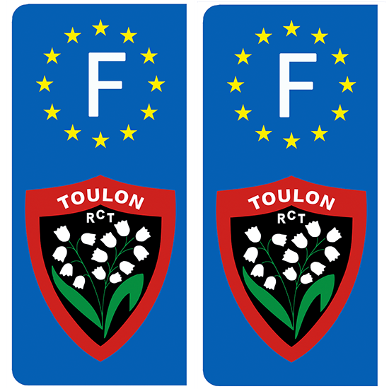 2 stickers pour plaque d\'immatriculation, RUGBY RCT Toulon