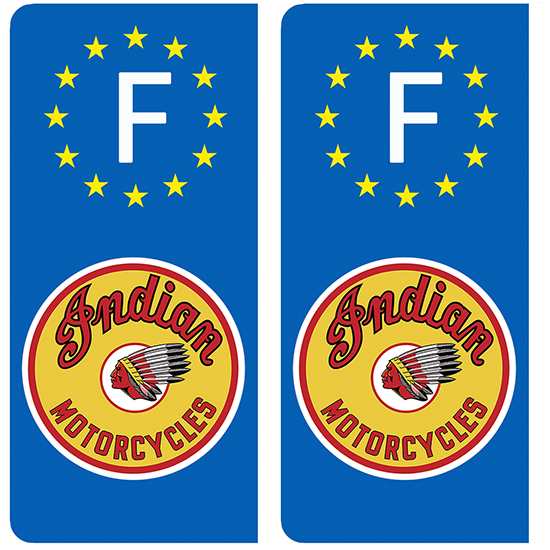 2 stickers pour plaque d\'immatriculation, INDIAN MOTORCYLE