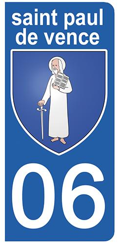 2 stickers pour plaque d\'immatriculation Auto, 06 ST PAUL DE VENCE