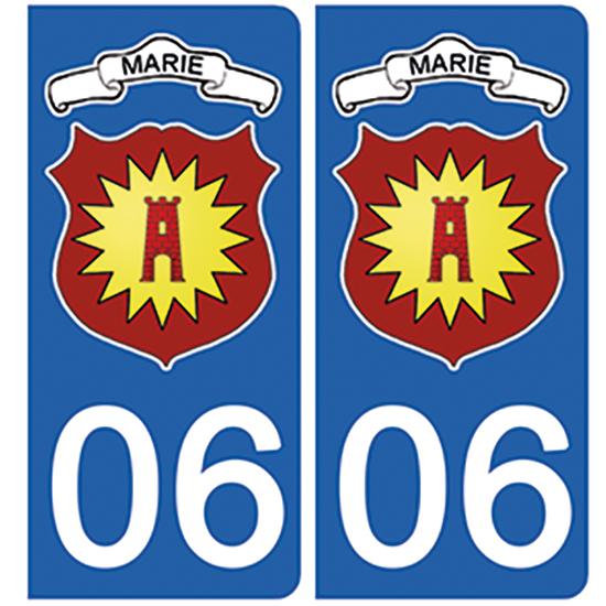 2 stickers pour plaque d\'immatriculation Auto, 06, Marie sur Tinée