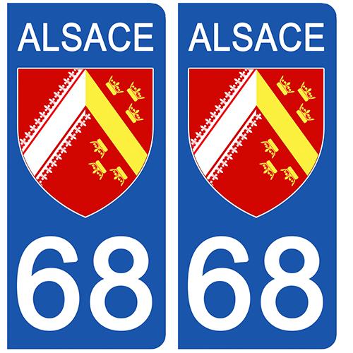 2 stickers pour plaque d\'immatriculation pour Auto, 68 ALSACE