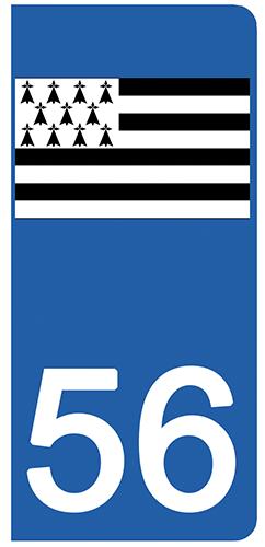 2 stickers pour plaque d\'immatriculation pour Auto, 56 Morbihan, Gwenn ha du, drapeau breton