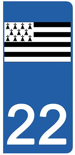 2 stickers pour plaque d\'immatriculation pour Auto, 22 Côtes-d\'Armor, Gwenn ha du, drapeau breton