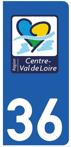 2 stickers pour plaque d\'immatriculation Auto, 36 Indre