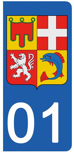 2 stickers pour plaque d\'immatriculation Auto, 01 AIN