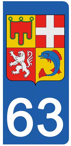 2 stickers pour plaque d\'immatriculation Auto, 63 Puy de Dôme
