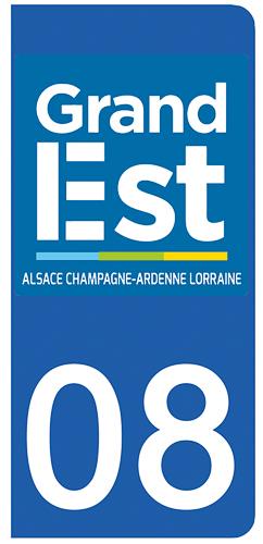 2 stickers pour plaque d\'immatriculation pour Auto, 08 Ardennes