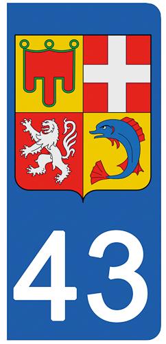 2 stickers pour plaque d\'immatriculation Auto, 43 Haute-Loire