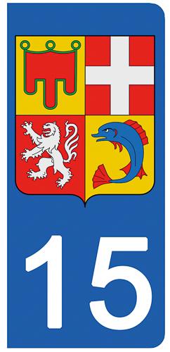 2 stickers pour plaque d\'immatriculation Auto, 15 Cantal