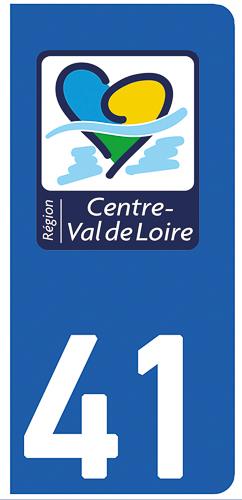 2 stickers pour plaque d\'immatriculation Auto, 41 Loire et Cher