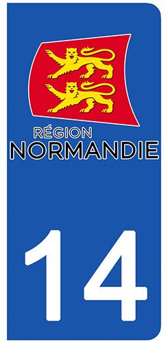 2 stickers pour plaque d\'immatriculation pour Auto, 14 Calvados