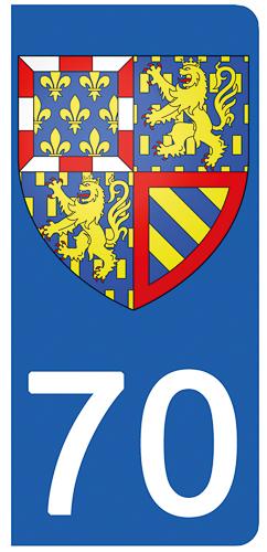 2 stickers pour plaque d\'immatriculation pour Auto, 70 Haute Saône