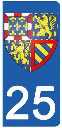 2 stickers pour plaque d\'immatriculation pour Auto, 25 Doubs