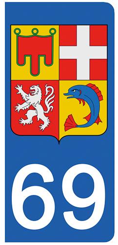 2 stickers pour plaque d\'immatriculation Auto, 69 Rhône