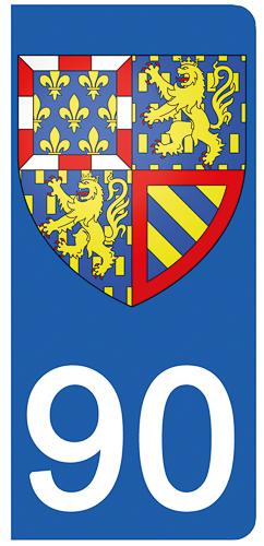 2 stickers pour plaque d\'immatriculation pour Auto, 90 Territoire de Belfort - Bourgorgne Franche Comté