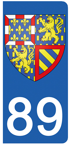 2 stickers pour plaque d\'immatriculation pour Auto, 89 Yonne
