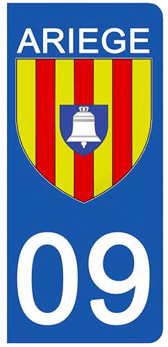 2 stickers pour plaque d\'immatriculation pour Auto, 09 blason de l\'Ariège