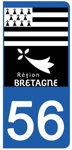 2 stickers pour plaque d\'immatriculation Auto, 56 Morbihan