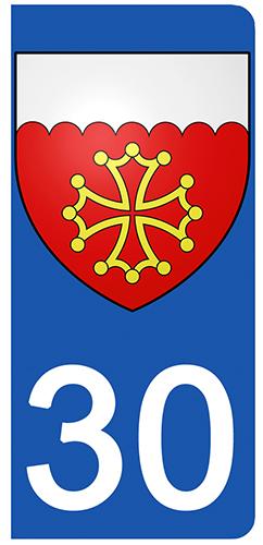 2 stickers pour plaque d\'immatriculation pour Auto, 30, Blason du Gard