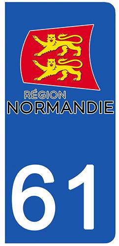2 stickers pour plaque d\'immatriculation pour Auto, 61 Orne