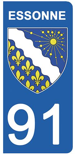 2 stickers pour plaque d\'immatriculation Auto, 91 blason de l\'Essonne
