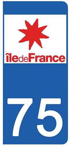 2 stickers pour plaque d\'immatriculation pour Auto, 75 PARIS