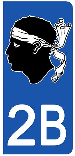 2 stickers pour plaque d\'immatriculation Auto, 2B corse