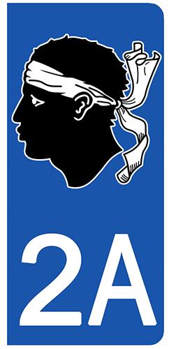 2 stickers pour plaque d\'immatriculation Auto, 2A Corse