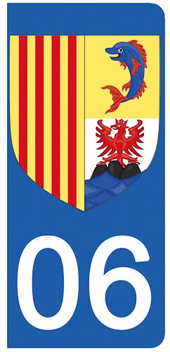 2 stickers pour plaque d\'immatriculation Auto, 06 Alpes Maritime