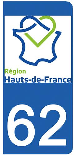 2 stickers pour plaque d\'immatriculation pour Auto, 62 Pas de Calais