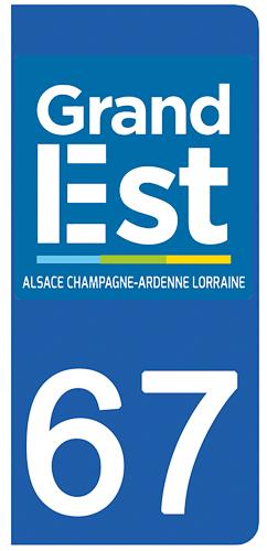 2 stickers pour plaque d\'immatriculation pour Auto, 67 Bas Rhin