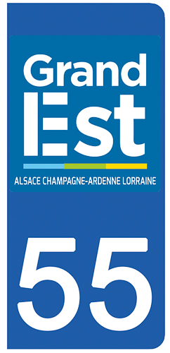 2 stickers pour plaque d\'immatriculation pour Auto, 55 Meuse