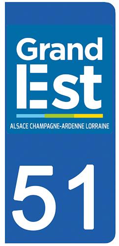 2 stickers pour plaque d\'immatriculation pour Auto, 51 marne