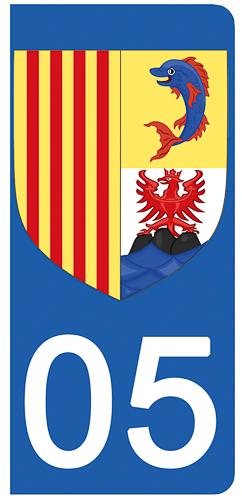 2 stickers pour plaque d\'immatriculation Auto, 05, Haute Alpes
