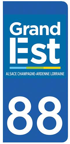 2 stickers pour plaque d\'immatriculation pour Auto, 88 Vosges