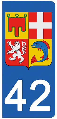 2 stickers pour plaque d\'immatriculation Auto, 42 Loire