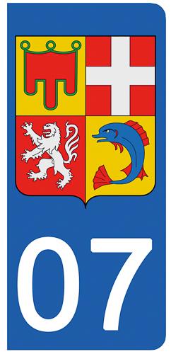 2 stickers pour plaque d\'immatriculation Auto, 07 Ardèche