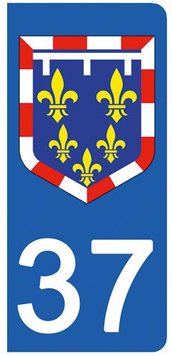2 stickers pour plaque d\'immatriculation pour Auto, 37 Indre et Loire