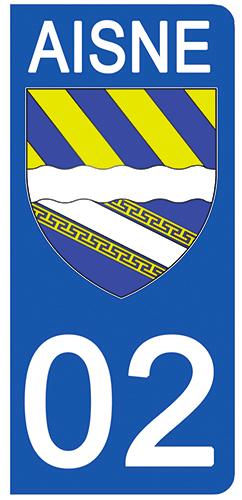 2 stickers pour plaque d\'immatriculation pour Auto, 02 Blason de l\'Aisne