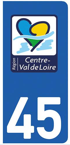 2 stickers pour plaque d\'immatriculation pour Auto, 45 Loiret