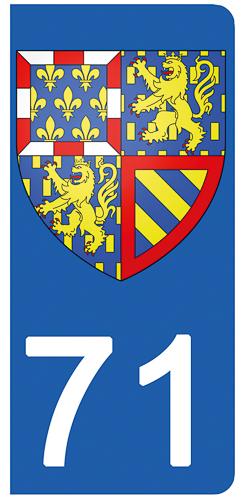2 stickers pour plaque d\'immatriculation pour Auto, 71 Saône et Loire , Bourgogne Franche Comté