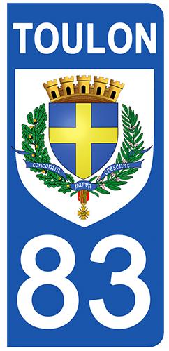 2 stickers pour plaque d\'immatriculation pour Auto, 83 Var, Toulon