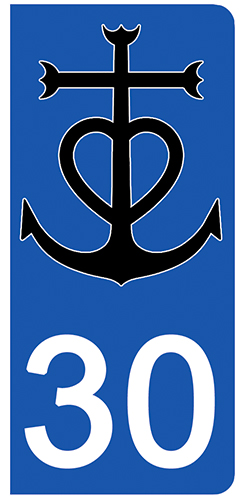 2 stickers pour plaque d\'immatriculation pour Auto, 30 Gard, Camargue